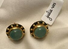 Julie Vos Brushed 24k Gold and Oxidized Moonstone Post Earrings in 24k NWT $155