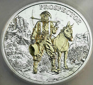 ND PROSPECTOR .999 SILVER ROUND ICG GENUINE PL GOLD GILDED RARE