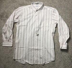 M. Hyman And Son White Pin-Point Oxford Tall 17 1/2 -36 Dress Shirt W Pin Stripe