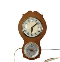 Vintage 60s Mid Century Modern MCM Lanshire Hanging Wall Clock Barometer Wood
