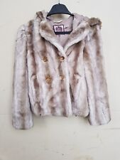 KIDS GIRLS JUICY COUTURE FAUX FUR COAT / JACKET WITH HOOD AGE 12