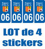 4 STICKERS PLAQUE IMMATRICULATION DEPARTEMENT 06 REGION PACA