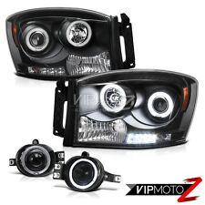 Dodge Ram 2006-2008 [CCFL HALO RIM] 1500 2500 3500 LED Headlights +Angel Eye Fog