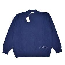 NWT $895 Brioni Men's Navy Blue Diamond Knit Mock Neck Wool Sweater L AUTHENTIC