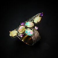 Opal Ring 925 Sterling Silver Size 7.25 /RT18-0144