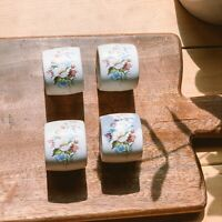 Vintage Handcrafted Ceramic White & Flower Print Napkin Rings Set of Four