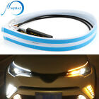 2pcs 60cm Led Drl Headlight Strip Lights Amber Sequential Turn Signal Flexible