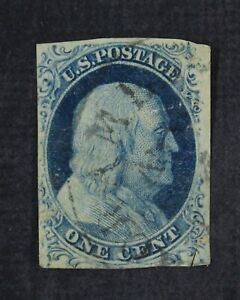 CKStamps: US Stamps Collection Scott#9 1c Franklin Used Tiny Tear Spot Thin