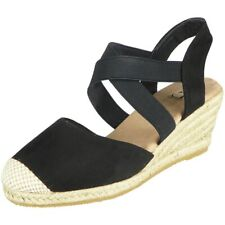 Womens Wedge Sandals Hessian Slingback Espadrilles Ladies Elastic Strappy Shoes