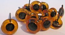 NEW LOT 6 PAIRS 8mm AMBER GLASS EYES on WIRE Fish lures TEDDY BEARS DUCK decoys