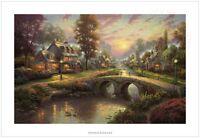 Thomas Kinkade Sunset on Lamplight Lane – 24x36 S/N Limited Edition Paper
