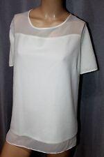 George boxy textured top blouse short sleeve sheer panels ivory white size 20uk