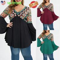 Women Long Bell Sleeve Tops Casual Ruffle V Neck Tunic Floral Print Shirt Blouse