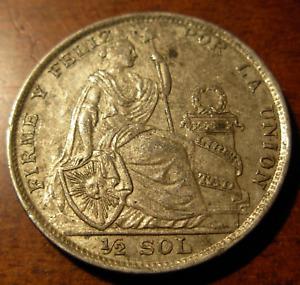 Peru 1923 Silver 1/2 Sol UNC Seated Liberty