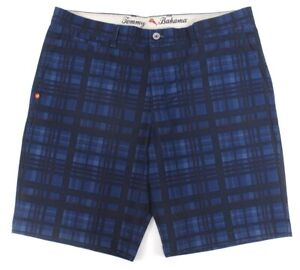mens blue plaid TOMMY BAHAMA beachfront stretch shorts hybrid 36 x 10.5