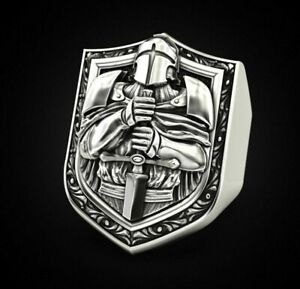 Knight royal army soldier fighter 925 sterling silver biker rider ring Gift