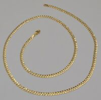 14k Solid Yellow Gold Cuban Curb Link Chain Necklace 22 Inches 8.2 Gr 3.7 mm