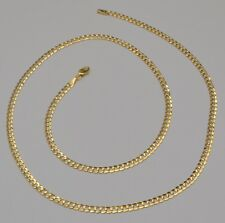 14k Solid Yellow Gold Cuban Curb Link Chain Necklace 24 Inches 9.1 Gr 3.7 mm