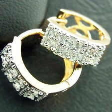 FS472 GENUINE REAL 18K YELLOW G/F GOLD SOLID SIMULATED DIAMOND HOOP EARRINGS