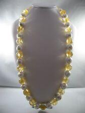 Collana donna in Quarzo Citrino 18mm. naturale e Perle Coltivate 15mm.,L. Cm.79