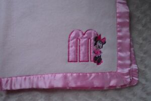 Disney Baby Minnie Mouse Blanket Pink M Silky Satin Edge Security Lovey Cudlie