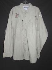 "Columbia NEW Khaki ""Great good 2 GCBU"" Fishing Travel Long Sleeve Shirt Men's L"