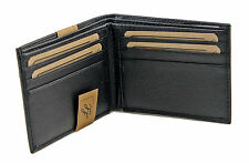 New Mens Bifold Grain Leather Wallet Black Cards Id License Thin Slim Soft Hand