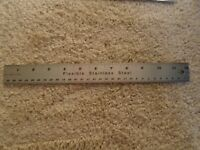 Vintage Flexible Stainless Steel Ruler MADE IN USA - CORK BACKING - NICE!!