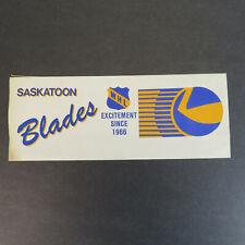 1980's Saskatoon Blades Hockey Team Bumper Sticker - Vintage Joe's Cycle Ad 1986