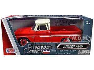 1966 CHEVROLET C10 FLEETSIDE PICKUP TRUCK RED & CREAM 1/24 MODEL MOTORMAX 73355