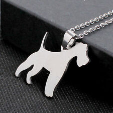 Stainless Steel American Fox Hound Silhouette Dog Pet Pendant + Chain Necklace