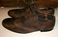 Bed-Stu Distressed-Brown-Leather Lace-Up Wing-Tip Brogues Oxfords 11M $295