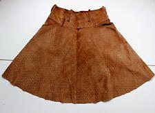Fendi En Daim Cuir Marron Logo Imprimé une ligne jupe, it 42 UK 10