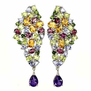 Unheated Pear Amethyst 8x6mm Citrine Peridot Gems 925 Sterling Silver Earrings