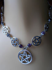 Pentacle Necklace Amethyst Gemstone Beads Pentagram Pagan Wiccan