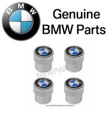 For BMW SET Logo Valve Stem Caps Covers Silver Roundel Logo Genuine