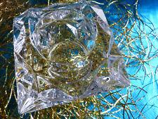 """Schwerer Tiffany Glas Leuchter Teelicht Halter """"NEU"""" Etikette u. Signum"""