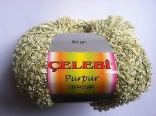 Celebi Purpur #18 Baby Yellow Gold Twin Ringlets Novelty Ribbon Yarn 50gr 124yds