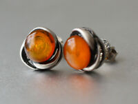 Gorgeous Vintage Real Baltic Amber Stud Earrings 925 Solid Silver Sterling