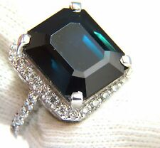 GIA Certified 18.44ct natural Deep Green Blue Sapphire diamond ring 18kt Halo