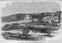 ALBANY CITY, ILLINOIS GREAT TORNADO 1860 TORNADO STORM RUINS, ANTIQUE ENGRAVING