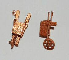 VINTAGE COPPER WHEEL BARROW CHARM DANGLE BEAD ANTIQUE METAL STAMPINGS