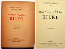 RILKE/E.JALOUX/ED EMILE PAUL FRERES/PHOTOS