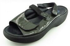 Wolky Size 43 M Green Slingback Patent Leather Women Sandal Shoes