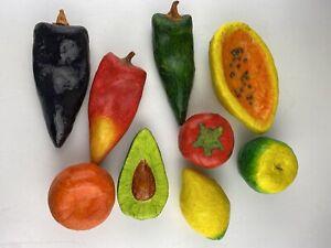 Large Lot 9 Paper Mache Variety Fruits Vegetables Lifesize Decor Props Folk Art