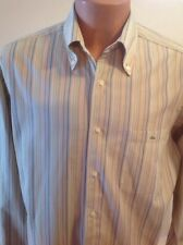 Lacoste Dress Shirt, Green, Taupe, Blue Stripe, 100% Cotton, Size 42