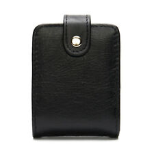 Women Genuine Leather Make Up Case Lipstick Bag Cigarette Snap Bags Mirror Black
