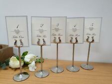 Set of 5 Silver Table Number Holders 8inch used with ivory glitter number cards
