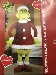 CHRISTMAS SANTA 5.74 FT TALL LIFE SIZE ANIMATED GRINCH PROP SPEAKS-NEW IN BOX