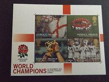 Hoja de 4 Sellos Copa Mundial de Rugby Inglaterra año 2003. Con funda original.